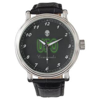 Custom Black Vintage Leather Watch UFO Commander