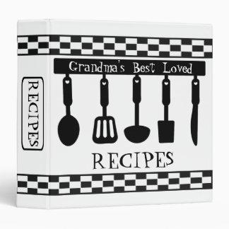 Custom Black & White  Pattern Recipe Binder