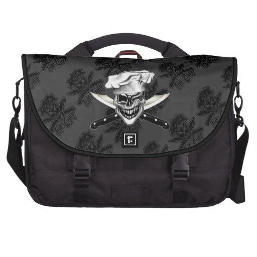 Custom Black Winking Chef Skull Computer Bag