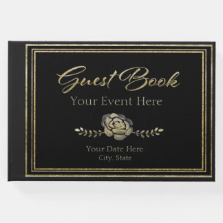 Custom Black with Gold with Rose Guest Book