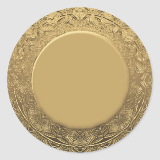 Custom Blank Template Gold Faux Foil Classic Round Sticker
