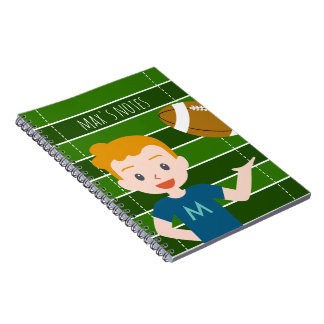 Custom Blond Boy Football Note Book
