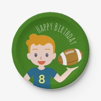 Custom Blond Boy Football Party Paper Plates