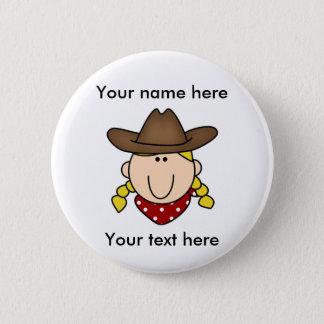 Custom Blond Cowgirl 2 Inch Round Button