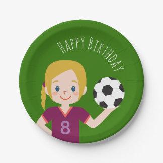 Custom Blond Girl Soccer Party Paper Plates