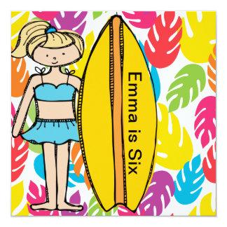 Custom Blond Girl Surfer Birthday Invites