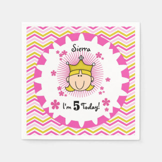 Custom Blond Princess 5th Birthday Paper Napkins