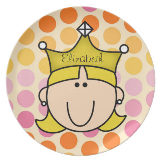 Custom Blond Princess on Multi Dots Kids Plate