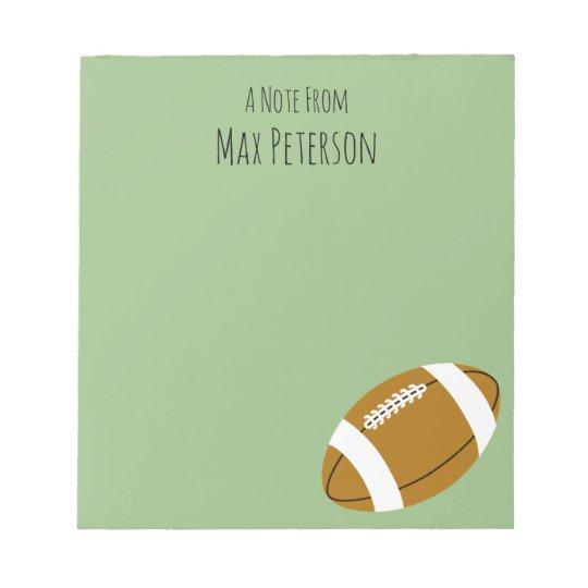 Custom Blonde Boy Football Notepad