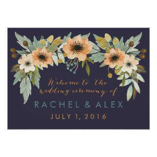 Custom Blooming Watercolor Welcome Poster