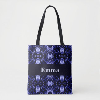 Custom Blue Abstract Pattern Tote Bag