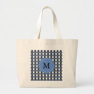 Custom Blue Abstract Scarab Pattern Monogram Large Tote Bag