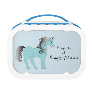 Custom Blue and Gray Unicorn Lunch Box