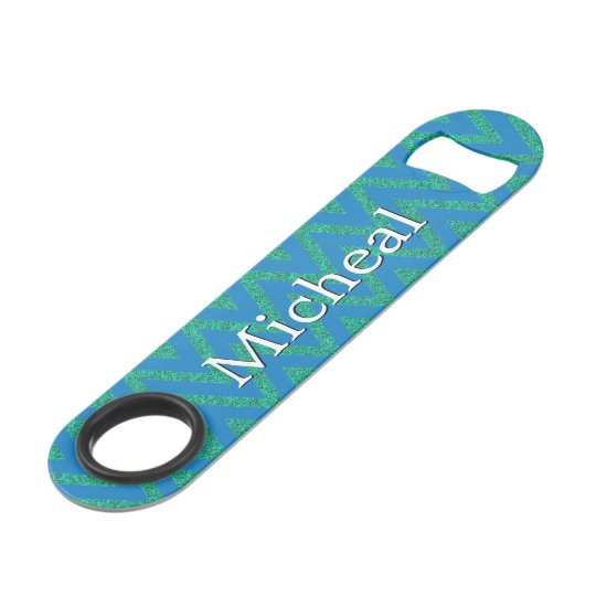 Custom Blue and Green Chevron Speed Bottle Opener