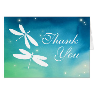 Custom Blue and Green Dragonfly Thank You Cards