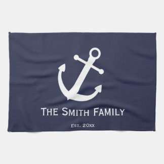 Custom Blue and White Anchor Kitchen Towel
