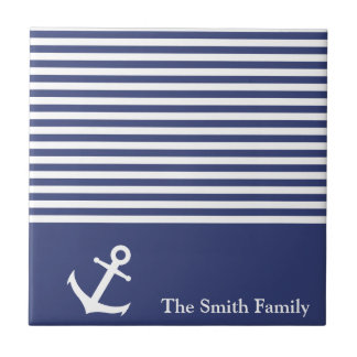 Custom Blue and White Striped Nautical Anchor Tile