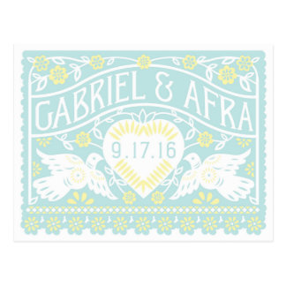 Custom Blue and Yellow Lovebirds Save the Date Postcard