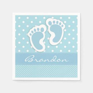 Custom Blue Baby Feet White Polkadots Pattern Paper Napkins