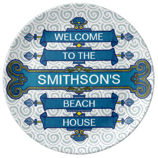 Custom Blue Beach House Sign with Scallop Swirls Plate