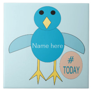 Custom Blue Birthday Boy Chick Bear Tile
