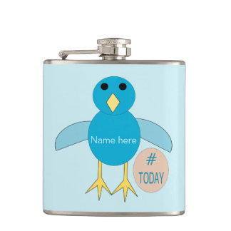 Custom Blue Birthday Boy Chick Hip Flask