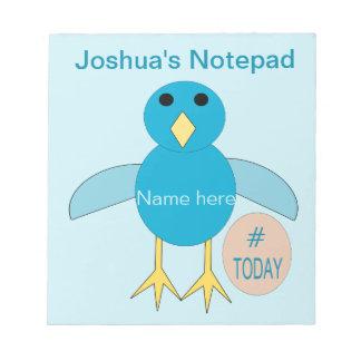 Custom Blue Birthday Boy Chick Notepad