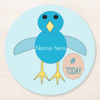 Custom Blue Birthday Boy Chick Paper Coasters