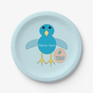 Custom Blue Birthday Boy Chick Paper Party Plates