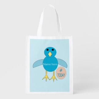 Custom Blue Birthday Boy Chick Reusable Bag Grocery Bags