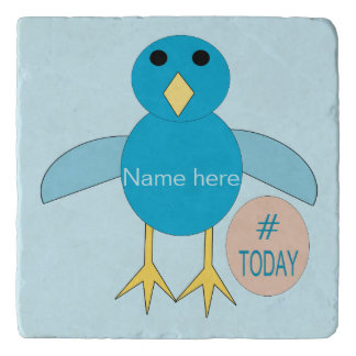 Custom Blue Birthday Boy Chick Stone Trivet