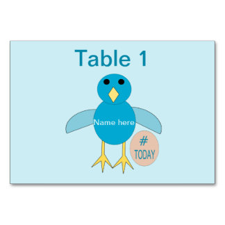 Custom Blue Birthday Boy Chick Tablecard Card