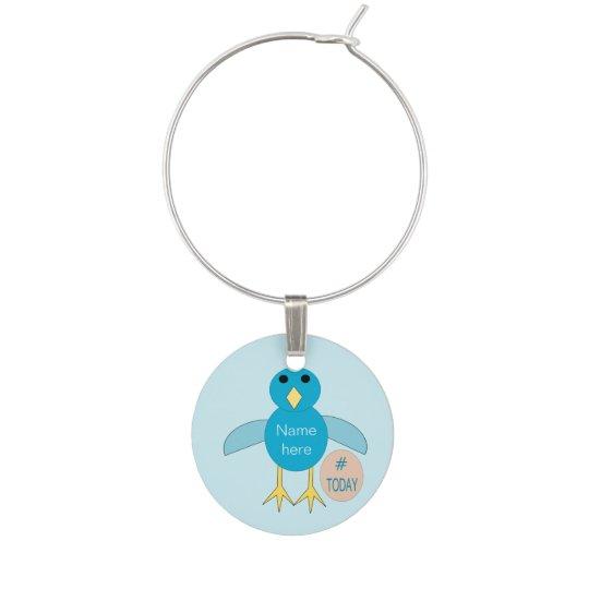 Custom Blue Birthday Boy Chick Wine Charm