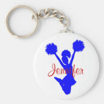 Custom Blue Cheerleader Key Chain