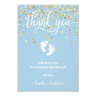 Custom Blue Gold THANK YOU Baby Shower BOY Card