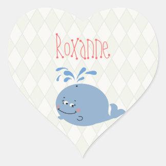 Custom Blue Harlequin Whale Vanity Adhesive - Heart Sticker