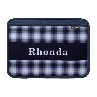 Custom Blue Monochrome Plaid MacBook Air Sleeve