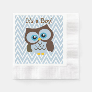 Custom Blue Owl & Blue Chevron Zigzag Napkins