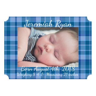 Custom Blue Plaid Baby Boy Birth Announcement