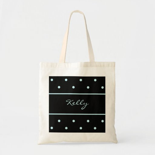 Custom Blue Polka Dot Bridesmaid Tote Bag
