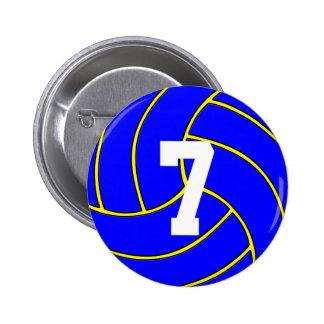 Custom Blue Volleyball Button Pin