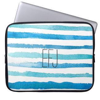Custom Blue Watercolor Stripes Laptop Sleeve