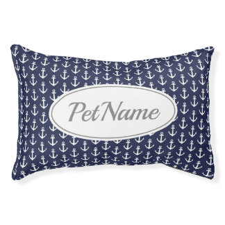 Custom blue white nautical anchor pattern dog bed