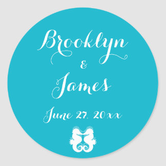 Custom Blue White Seahorse Wedding Stickers