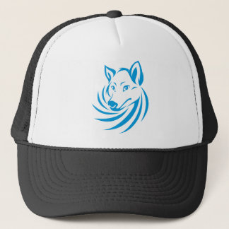Custom Blue Wolf Logo Trucker Hat