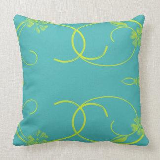 custom blue Yellow floral scroll design Pillow