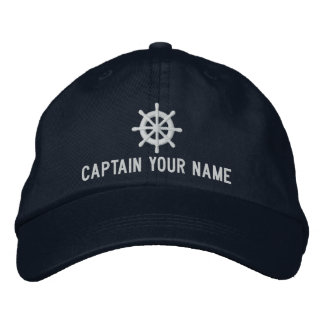 Custom boat captain hat with nautical ship wheel
