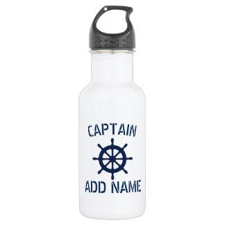 Custom boat captain name ship wheel water bottle