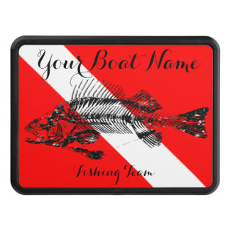 Custom Boat Name Dive Flag with Fish Bones Tow Hitch Covers