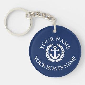 Custom boat name nautical anchor keychain